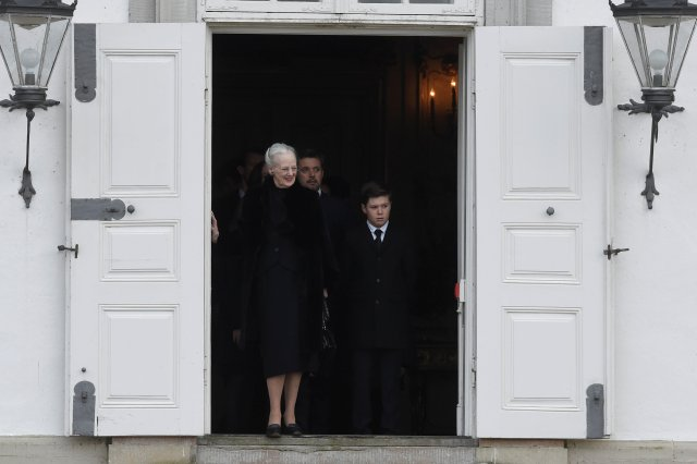 Queen Margrethe of Denmark is seen as Prince Henrik's casket is moved from Fredensborg Palace to Amalienborg Palace, in Fredensborg, Denmark, February 15, 2018. Ritzau Scanpix Denmark/Liselotte Sabroe via REUTERS ATTENTION EDITORS - THIS IMAGE WAS PROVIDED BY A THIRD PARTY. DENMARK OUT. NO COMMERCIAL OR EDITORIAL SALES IN DENMARK.