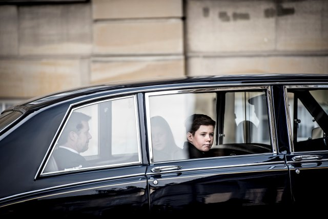 Prince Christian is seen in a royal car as Prince Henrik's casket arrives to Amalienborg Palace in Copenhagen, Denmark, February 15, 2018. Ritzau Scanpix Denmark/Mads Claus Rasmussen via REUTERS ATTENTION EDITORS - THIS IMAGE WAS PROVIDED BY A THIRD PARTY. DENMARK OUT. NO COMMERCIAL OR EDITORIAL SALES IN DENMARK.