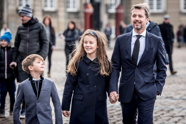 Denmark's Prince Vincent, Princess Isabella and Crown Prince Frederik walk near Amalienborg Palace in Copenhagen, Denmark, February 15, 2018. Ritzau Scanpix Denmark/Mads Claus Rasmussen via REUTERS ATTENTION EDITORS - THIS IMAGE WAS PROVIDED BY A THIRD PARTY. DENMARK OUT. NO COMMERCIAL OR EDITORIAL SALES IN DENMARK.