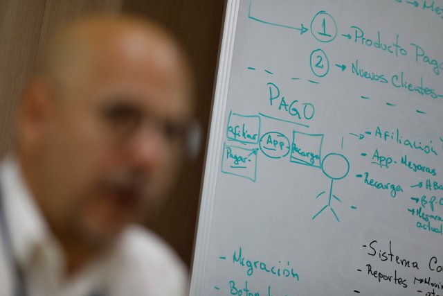 Workflow and design info regarding Vippo app is seen on a whiteboard as Vippo's leader Miguel Leon talks during an interview with Reuters, in Caracas, Venezuela January 11, 2018. Picture taken January 11, 2018. REUTERS/Marco Bello