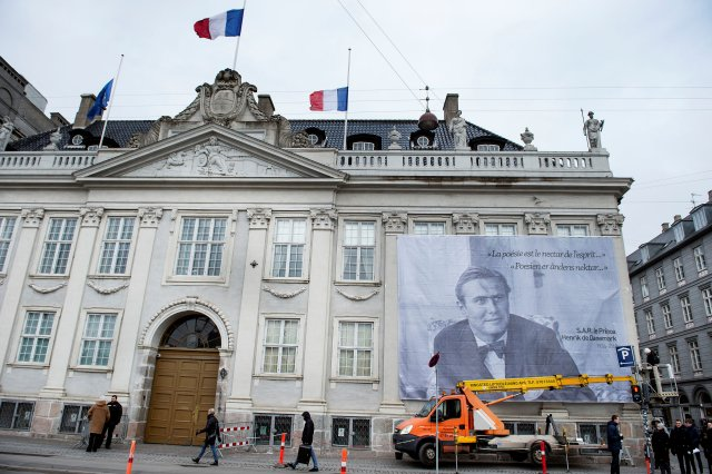 A portrait of Prince Henrik is displayed at the French Embassy in Copenhagen, Denmark, February 15, 2018. Ritzau Scanpix Denmark/Liselotte Sabroe via REUTERS ATTENTION EDITORS - THIS IMAGE WAS PROVIDED BY A THIRD PARTY. DENMARK OUT. NO COMMERCIAL OR EDITORIAL SALES IN DENMARK.