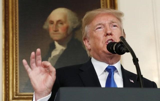 Presidente de Estados Unidos, Donald Trump, durante un discurso en la Casa Blanca. Octubre 13 2017. REUTERS/Kevin Lamarque