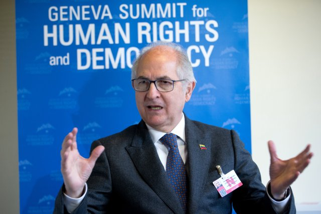 Venezuelan exiled veteran opposition figure and former mayor of Caracas Antonio Ledezma speaks in an interview with Reuters during the Geneva Summit for Human Rights and Democracy in Geneva, Switzerland February 20, 2018. REUTERS/Pierre Albouy