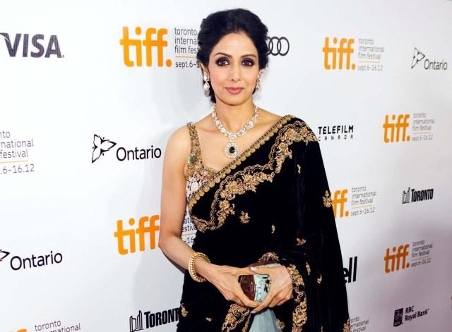 "FILE PHOTO: Actress Sridevi Kapoor arrives for the gala presentation of ""English Vinglish"" at the 37th Toronto International Film Festival, September 14, 2012. REUTERS/Mark Blinch/File Photo"