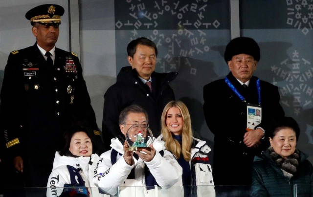 Pyeongchang 2018 Winter Olympics - Closing ceremony - Pyeongchang Olympic Stadium - Pyeongchang, South Korea - February 25, 2018 - President of the International Olympic Committee Thomas Bach, Ivanka Trump, senior White House adviser, and member of the North Korean delegation, Kim Yong-chol, attend the closing ceremony. REUTERS/Murad Sezer TPX IMAGES OF THE DAY