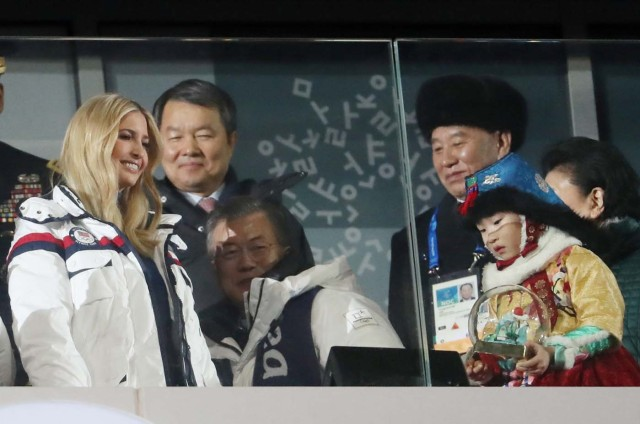 Pyeongchang 2018 Winter Olympics - Closing ceremony - Pyeongchang Olympic Stadium - Pyeongchang, South Korea - February 25, 2018 - Ivanka Trump (L to R), U.S. President Donald Trump's daughter and senior White House adviser, South Korean President Moon Jae-in and Kim Yong Chol of the North Korea delegation attend the closing ceremony. REUTERS/Lucy Nicholson TPX IMAGES OF THE DAY
