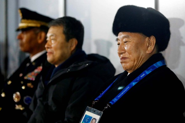 Pyeongchang 2018 Winter Olympics - Closing ceremony - Pyeongchang Olympic Stadium - Pyeongchang, South Korea - February 25, 2018 - Kim Yong Chol, right, vice chairman of North Korea's ruling Workers' Party Central Committee, watches the closing ceremony. REUTERS/Patrick Semansky/Pool TPX IMAGES OF THE DAY