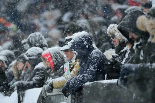 Soccer Football - Serie A - Juventus v Atalanta - Allianz Stadium, Turin, Italy - February 25, 2018 Fans in the snow before the match was postponed REUTERS/Massimo Pinca