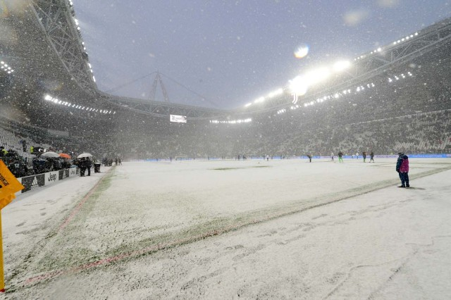 Soccer Football - Serie A - Juventus v Atalanta - Allianz Stadium, Turin, Italy - February 25, 2018 General view in the snow before the match was postponed REUTERS/Massimo Pinca