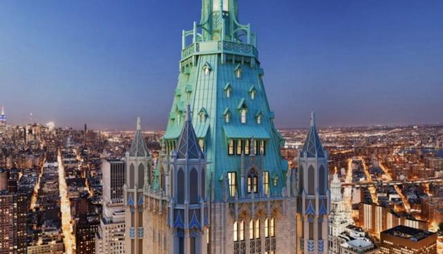 El 'Penthouse de Woolworth' cierra este listado con un valor de 110 millones de dólares. La construcción es un ícono de la avenida Broadway, en New York. Además, tan sólo el penthhouse tiene techos a 7,3 metros de altura y un total 241,1 metros de alto. Esta construcción se comenzó a elaborar en 1910 y finalizo en 1913. (Foto: Internet)