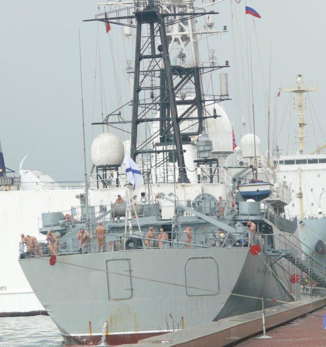 Una vista trasera del buque ruso de recolección de inteligencia Viktor Leonov atracó cerca del Hyatt Regency en Puerto España, ayer. Foto de: CHARLES KONG SOO