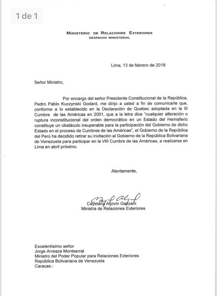 Carta de la canciller de Perú