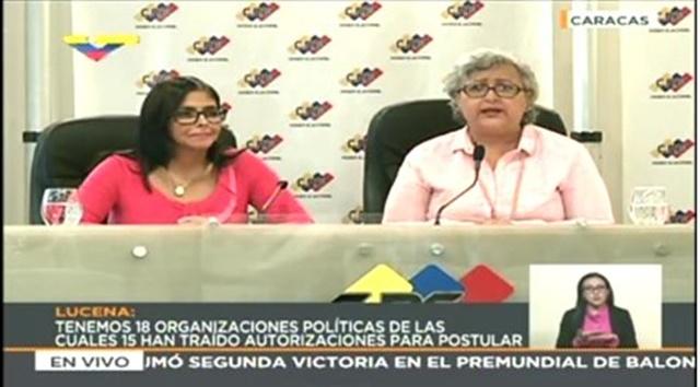 Presidenta ANC, Delcy Rodríguez declara junto a presidenta del CNE, Tibisay Lucena, en sede del Poder Electoral