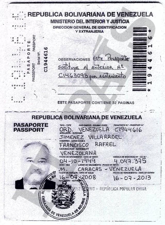 Pasaporte que adjunto para abrir su cuenta en la Banca Privada d'Andorra (BPA) el directivo de PDVSA Francisco Javier Jiménez Villarroel. EL PAÍS