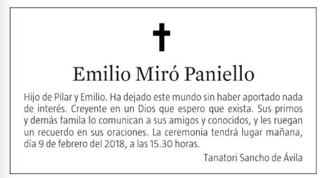 Esquela publicada en la edición del 8 de febrero de 2018 de 'La Vanguardia' (LVD)
