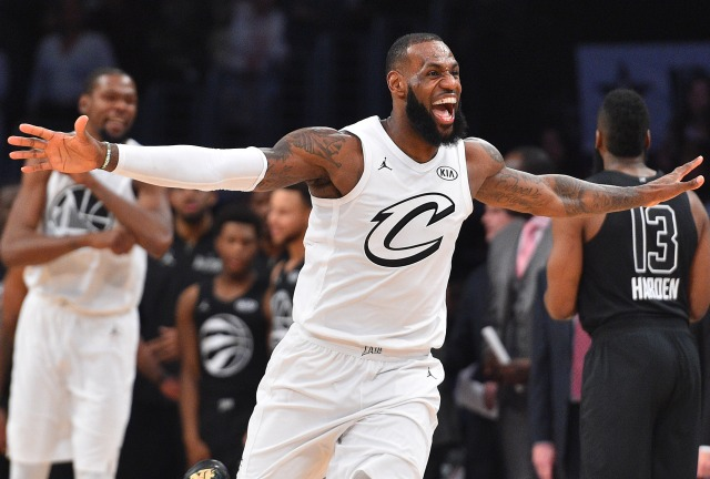 February 18, 2018; Los Angeles, CA, USA; Team LeBron forward LeBron James of the Cleveland Cavaliers (23) celebrates the victory against Team Stephen following the 2018 NBA All Star Game at Staples Center. Mandatory Credit: Bob Donnan-USA TODAY Sports