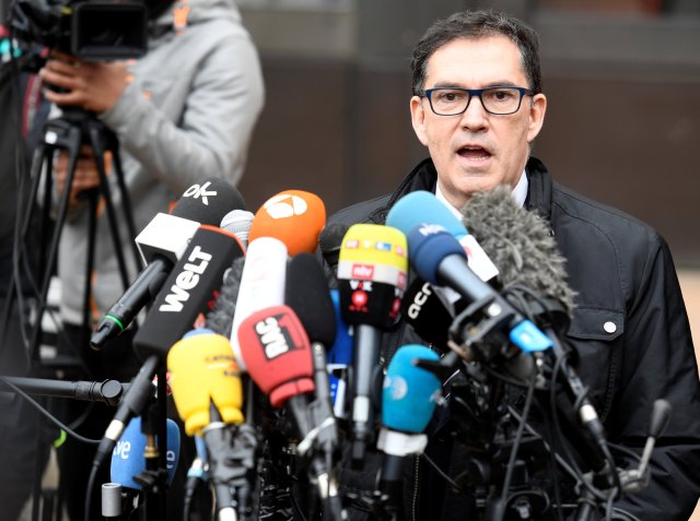Carles Puigdemont's lawyer Jaume Alonso-Cuevillas makes a statement at the prison in Neumuenster, Germany, March 27, 2018. REUTERS/Fabian Bimmer