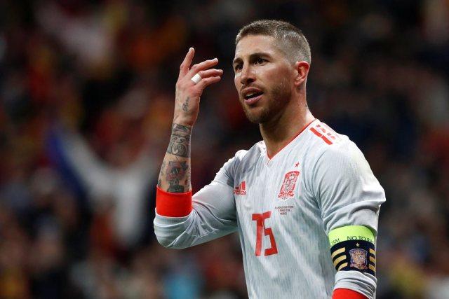 Soccer Football - International Friendly - Spain vs Argentina - Wanda Metropolitano, Madrid, Spain - March 27, 2018 Spain's Sergio Ramos reacts REUTERS/Juan Medina