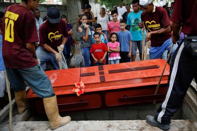 Familiares de Javier Rivas, uno de los presos que murieron durante un motín y un incendio en las celdas del Comando General de la Policía de Carabobo, reaccionó frente a su camino durante su funeral en Valencia, Venezuela el 29 de marzo de 2018. REUTERS / Carlos Garcia Rawlins