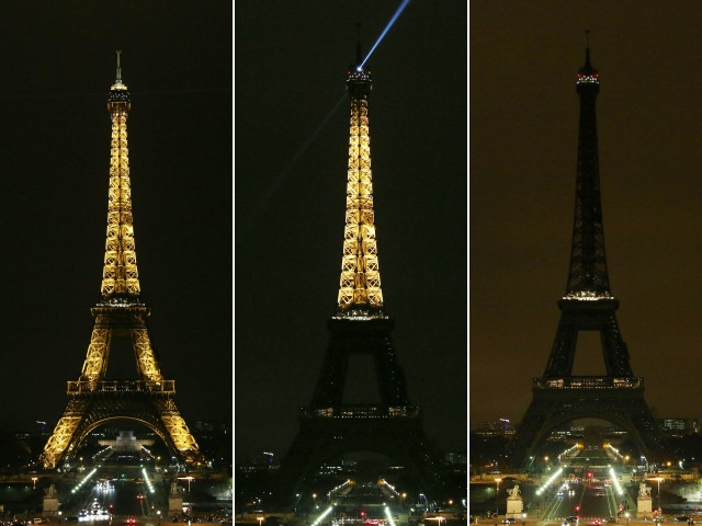 (COMBO) This combination of pictures created on March 23, 2018 shows the lights of the Eiffel Tower as they are dimmed at midnight,in Paris to honor victims killed at a supermarket in southwest France by a man claiming allegiance to the Islamic State. Paris Mayor Anne Hidalgo announced that the Eiffel Tower would switch off its light at midnight to honour the victims. / AFP PHOTO / Zakaria ABDELKAFI