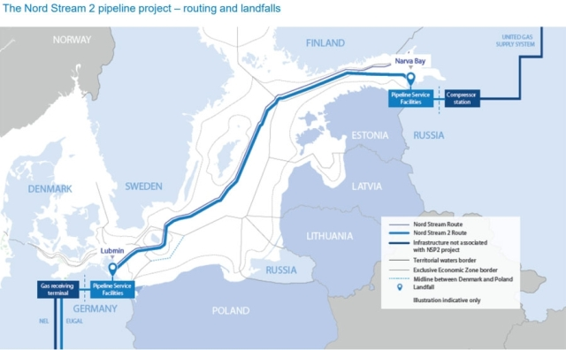 El gasoducto Nord Stream 2 usa el mar Báltico coomo ruta acuática para unir el gas de Rusia con una base de distribución en Alemania / cortesía Consultancy.ik