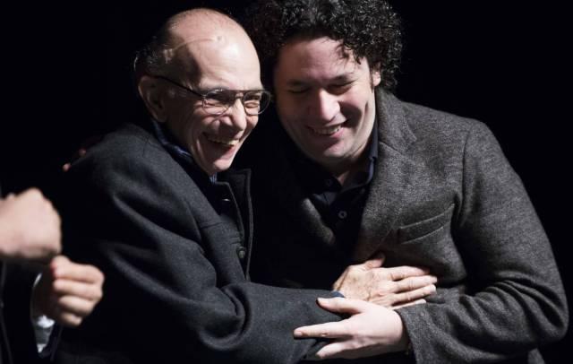 Abreu y Dudamel, en un acto en San Francisco en 2012. L. R. GETTY