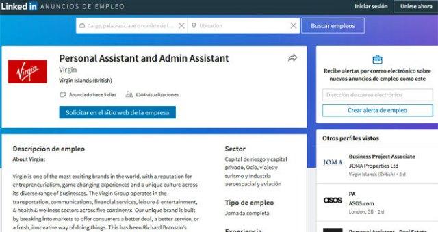El anuncio de la oferta de trabajo publicado en LinkedIn