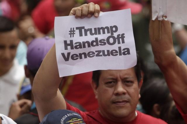 Una protesta chavista en Caracas este en defensa de la soberanía nacional y en rechazo a las nuevas amenazas intervencionistas proferidas por el presidente de los Estados Unidos Donald Trump