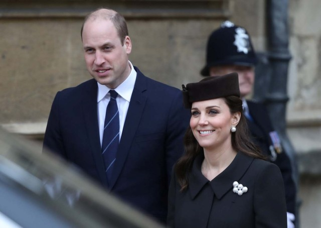 Britain's Prince William and Catherine, Duchess of Cambridge, leave the annual Easter Sunday service at St George's Chapel at Windsor Castle in Windsor, Britain, April 1, 2018. REUTERS/Simon Dawson