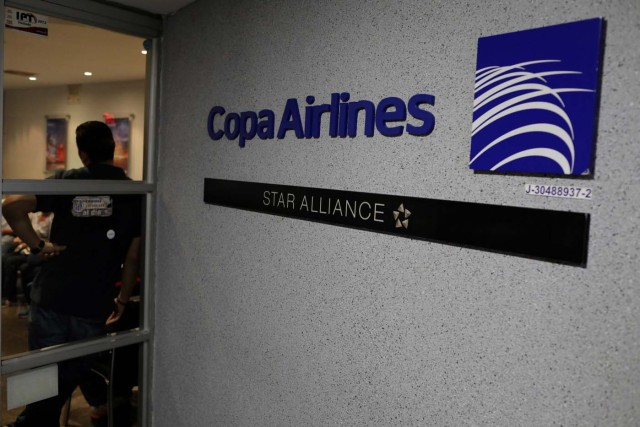 The logo of Copa Airlines is seen at its headquarters in Caracas, Venezuela April 6, 2018. REUTERS/Marco Bello
