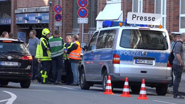 Police block a street near a place where a vehicle drove into a group of people killing several and injured many in Muenster Germany, April 7 2018. REUTERS/NonstopNews FOR EDITORIAL USE ONLY. NO RESALES. NO ARCHIVES