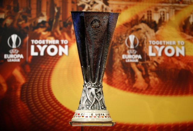 Soccer Football - Europa League Semi-Final Draw - Nyon, Switzerland - April 13, 2018 General view of the Europa League trophy before the draw REUTERS/Stefan Wermuth