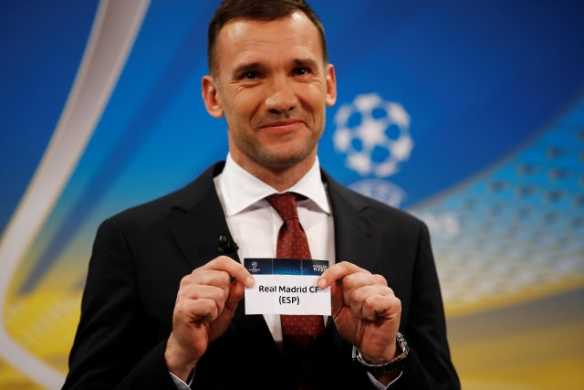 Soccer Football - Champions League Semi-Final Draw - Nyon, Switzerland - April 13, 2018   Andriy Shevchenko draws Real Madrid   REUTERS/Stefan Wermuth