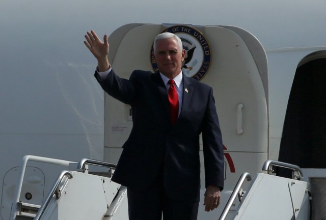 U.S. Vice President Mike Pence arrives at the airport for upcoming Summit of the Americas in Lima, Peru April13, 2018. REUTERS/Guadalupe Pardo
