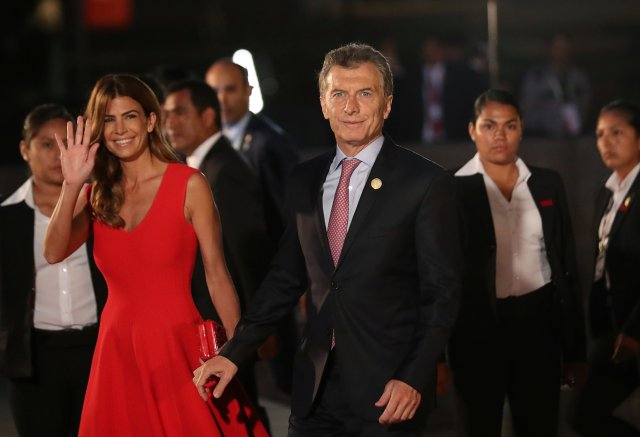 Argentine President Mauricio Macri and First Lady Juliana Awada arrive for the inauguration of the VIII Summit of the Americas in Lima, Peru April 13, 2018. REUTERS/Marco Brindicci