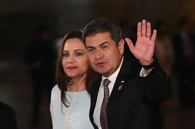 Honduras' President Juan Orlando Hernandez arrives for the inauguration of the VIII Summit of the Americas in Lima, Peru April 13, 2018. REUTERS/Marco Brindicci