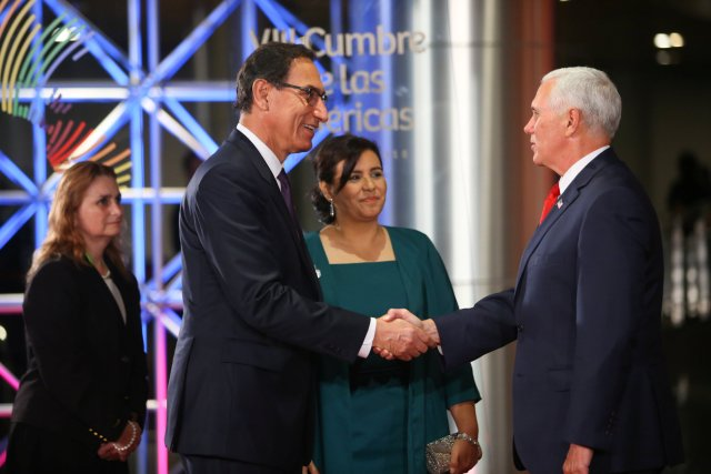 Peru's President Martin Vizcarra (L), accompanied by first lady Maribel Diaz welcomes U.S. Vice President Mike Pence to the inauguration of the VIII Summit of the Americas in Lima, Peru April 13, 2018. Presidential Palace Handout via REUTERS ATTENTION EDITORS - THIS IMAGE WAS PROVIDED BY A THIRD PARTY