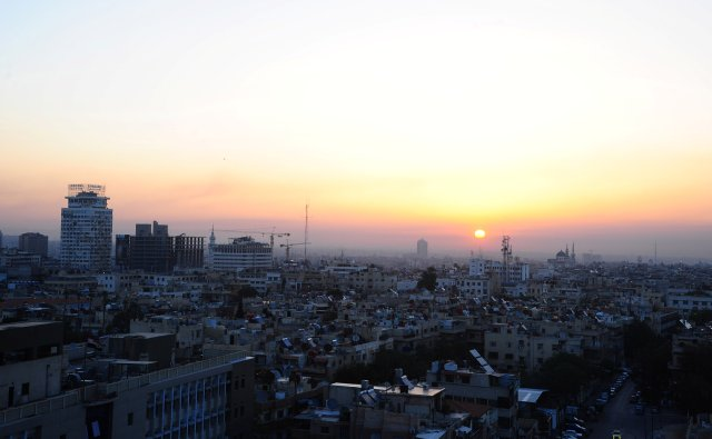 A general view of Damascus city during sunrise, Syria April 14, 2018. SANA/Handout via REUTERS THIS IMAGE HAS BEEN SUPPLIED BY A THIRD PARTY. REUTERS IS UNABLE TO INDEPENDENTLY VERIFY THIS IMAGE