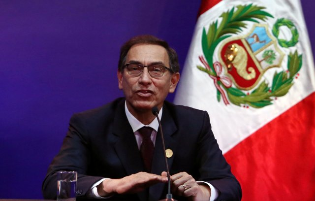 Peru's President Martin Vizcarra speaks during a news conference at the end of the VIII Summit of the Americas in Lima, Peru April 14, 2018. REUTERS/Guadalupe Pardo