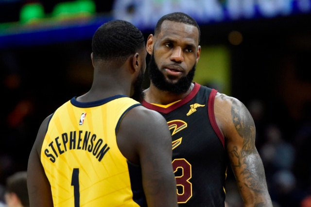Apr 15, 2018; Cleveland, OH, USA; Cleveland Cavaliers forward LeBron James (23) stands beside Indiana Pacers guard Lance Stephenson (1) in the fourth quarter in game one of the first round of the 2018 NBA Playoffs at Quicken Loans Arena. Mandatory Credit: David Richard-USA TODAY Sports