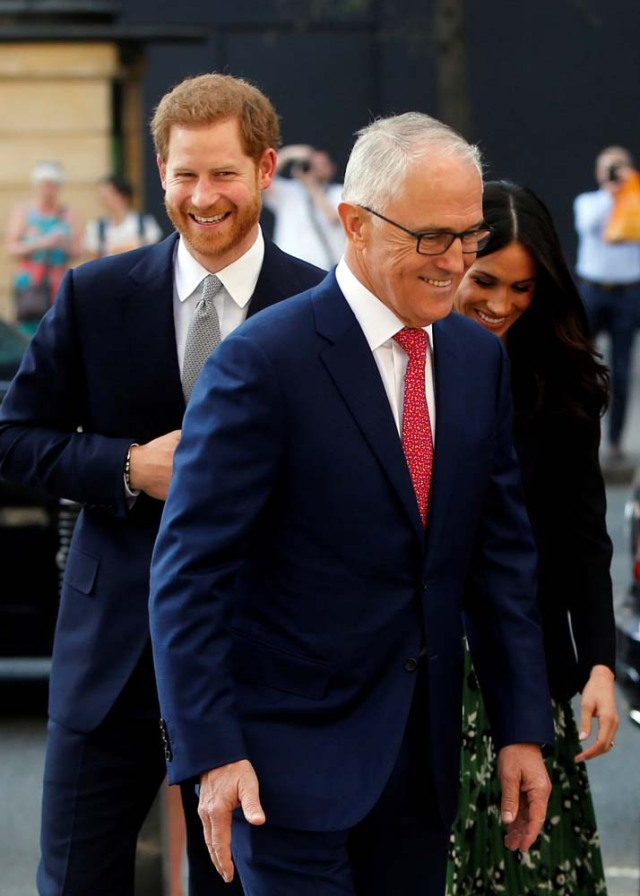 Britain's Prince Harry and Meghan Markle arrive to attend a reception celebrating the forthcoming Invictus Games Sydney 2018, hosted by Malcolm Turnbull, Prime Minister of Australia, and his wife Lucy Turnbull, at Australia House in London, Britain April 21, 2018. Alastair Grant/Pool via Reuters