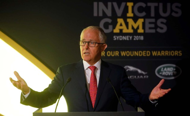 Malcolm Turnbull, Prime Minister of Australia speaks at a reception celebrating the forthcoming Invictus Games Sydney 2018, attended by Britain's Prince Harry and Meghan Markle, at Australia House in London, Britain April 21, 2018. Alastair Grant/Pool via Reuters