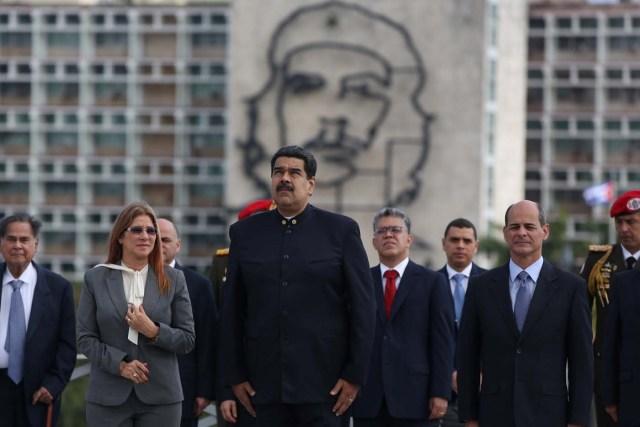Venezuela's President Nicolas Maduro attends a wreath-laying ceremony at the Jose Marti monument in Havana, Cuba April 21, 2018. REUTERS/Alexandre Meneghini