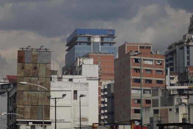 The logo of Citi is seen atop a building in Caracas, Venezuela April 6, 2018. Picture taken April 6, 2018. REUTERS/Marco Bello
