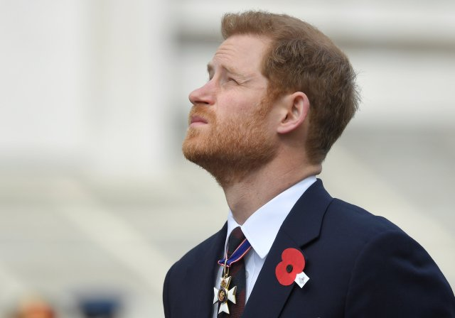 Britain's Prince Harry attends the ANZAC Day commemorations at the Cenotaph in Westminster, London, April 25, 2018. REUTERS/Toby Melville