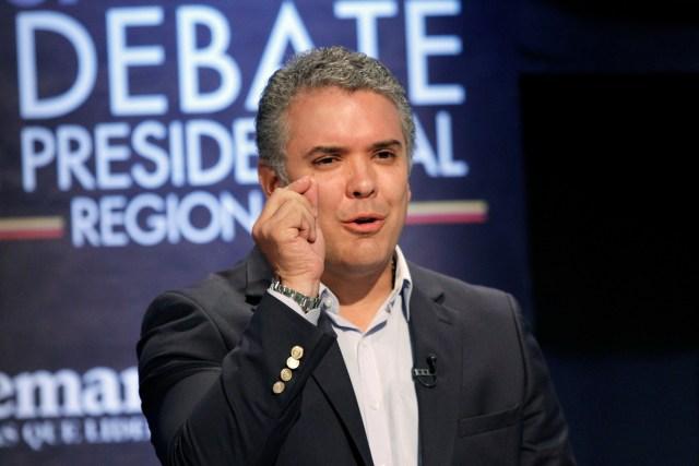 El candidato a la presidencia de Colombia Iván Duque durante un debate en Medellín. Imagen de archivo. 3 de abril de 2018. REUTERS/Fredy Builes