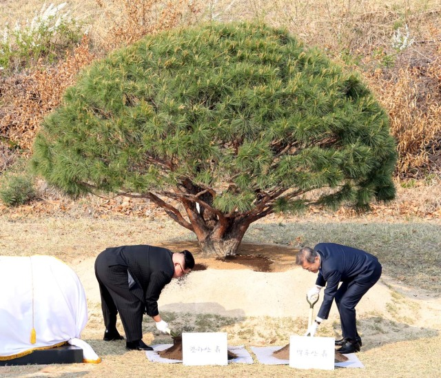 South Korean President Moon Jae-in and North Korean leader Kim Jong Un plant a tree at the truce village of Panmunjom inside the demilitarized zone separating the two Koreas, South Korea, April 27, 2018. Korea Summit Press Pool/Pool via Reuters