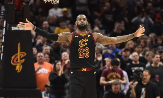 Apr 29, 2018; Cleveland, OH, USA; Cleveland Cavaliers forward LeBron James (23) signals to his team to not defend the Indiana Pacers late in the second half in game seven of the first round of the 2018 NBA Playoffs at Quicken Loans Arena. Mandatory Credit: Ken Blaze-USA TODAY Sports