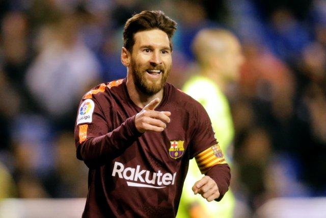 Soccer Football - La Liga Santander - Deportivo de La Coruna vs Barcelona - Abanca-Riazor, A Coruna, Spain - April 29, 2018 Barcelona's Lionel Messi celebrates scoring their third goal REUTERS/Miguel Vidal
