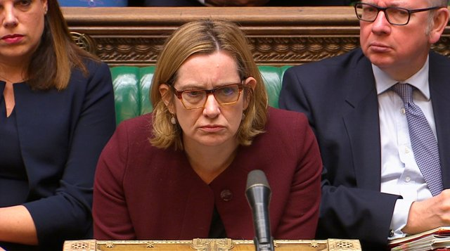 FILE PHOTO: Britain's Home Secretary Amber Rudd answers an urgent question on the treatment of members of the Windrush generation and their families in the House of Commons, in London, April 26, 2018. Parliament TV handout via REUTERS NO SALES THIS IMAGE HAS BEEN SUPPLIED BY A THIRD PARTY/File Photo
